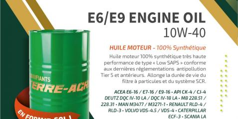 NOUVEAU : E6/E9 ENGINE OIL 10W-40 existe maintenant en 60L !!!